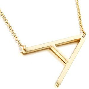 A B C D E Stainless Steel Gold Initial Necklace